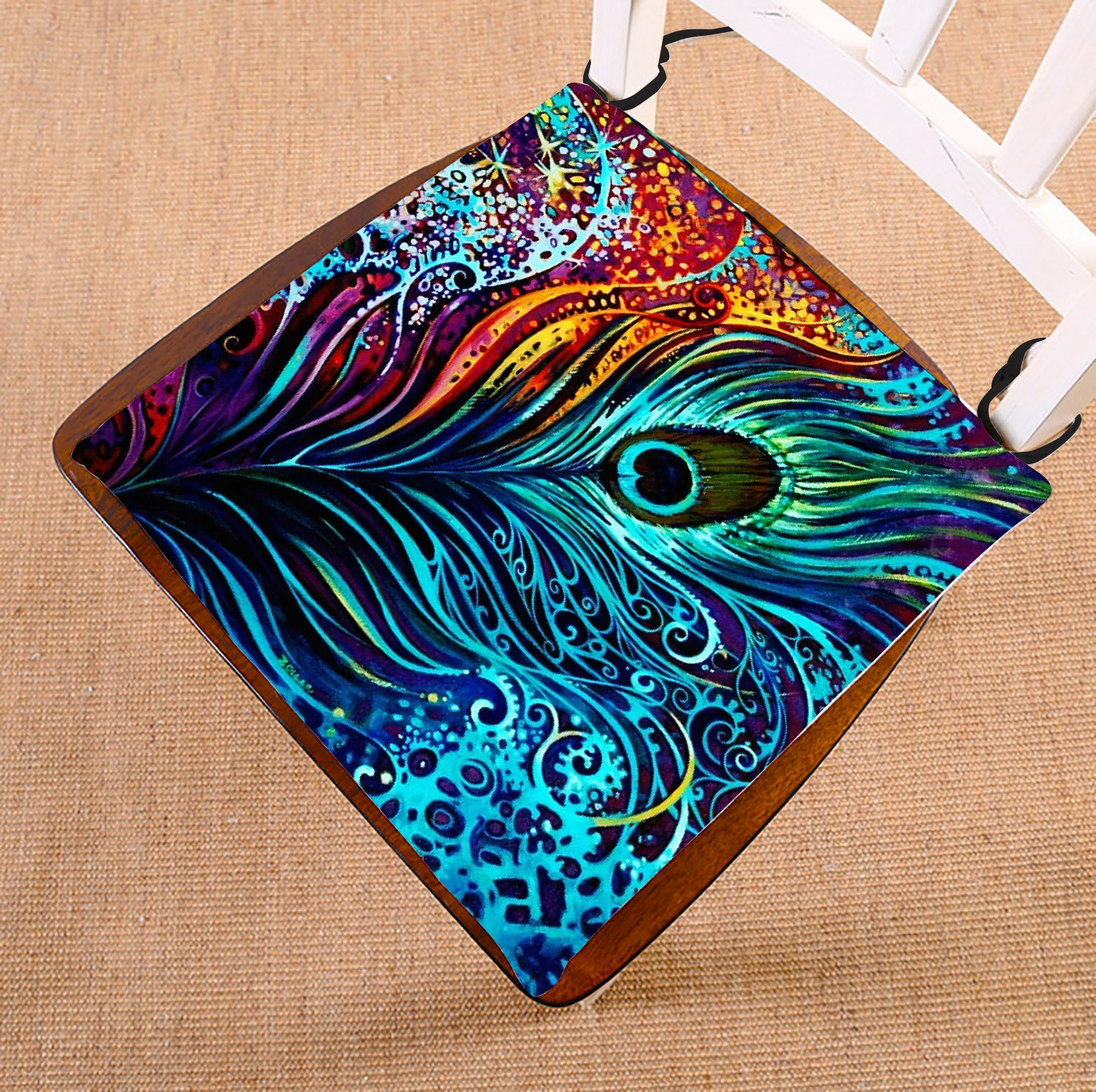 GCKG Colorful Peacock Design Chair Pad Seat Cushion Chair Cushion Floor Cushion with Breathable Memory Inner Cushion and Ties Two Sides Printing 16x16 inches