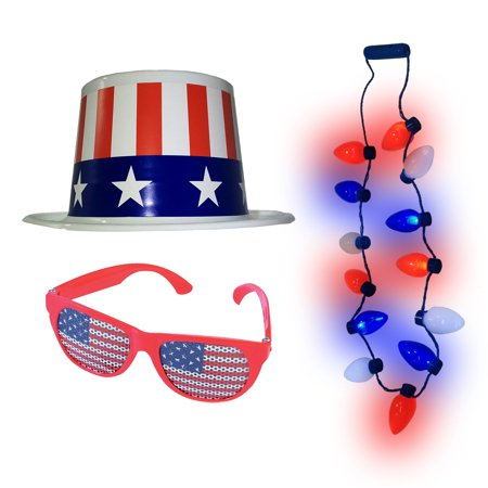 4th of July Stars and Stripes Plastic Top Hat American Flag Glasses And Necklace (Cheap Plastic Top Hats)