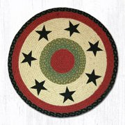 "Earth Rugs RP-238 Black Stars Round Patch 27"" x 27"""