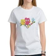 Women's Cute Happy Tree Owls on Branch Women's T-Shirt