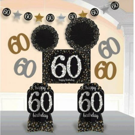 Over the Hill 'Sparkling Celebration' 60th Birthday Room Decorating Kit (10pc) - Black And Gold 60th Birthday Decorations