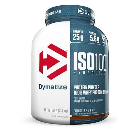 DYMATIZE Iso 100 Protéines en poudre, Fudge brownie, 5 Lb