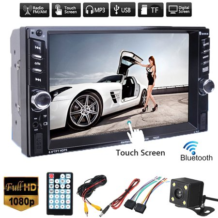 Clearance!!! Vehicle 6.6 inch 1080P HD Digital TFT Touch Screen Double 2DIN  bluetooth Car Stereo Radio FM AUX SD TF USB MP5 MP3 Player with Rearview Camera ()
