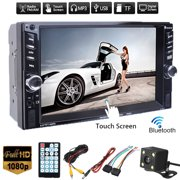 Clearance!!! Vehicle 6.6 inch 1080P HD Digital TFT Touch Screen Double 2DIN  bluetooth Car Stereo Radio FM AUX SD TF USB MP5 MP3 Player with Rearview Camera