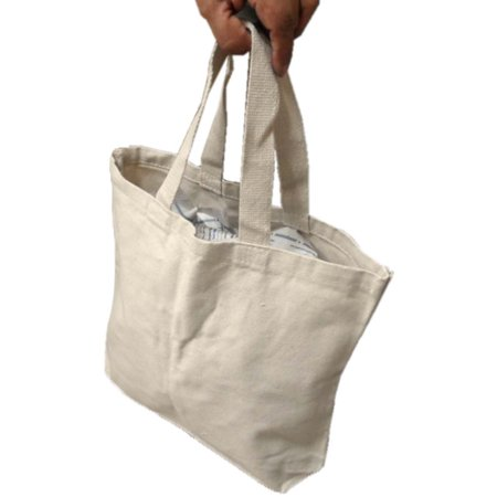 2 Handle Bag (Reusable Cotton Canvas Bag With Handle Straps for Grocery/shopping : ( Pack of 2 Bags ) (ToolUSA: AB-70201-Z02) )