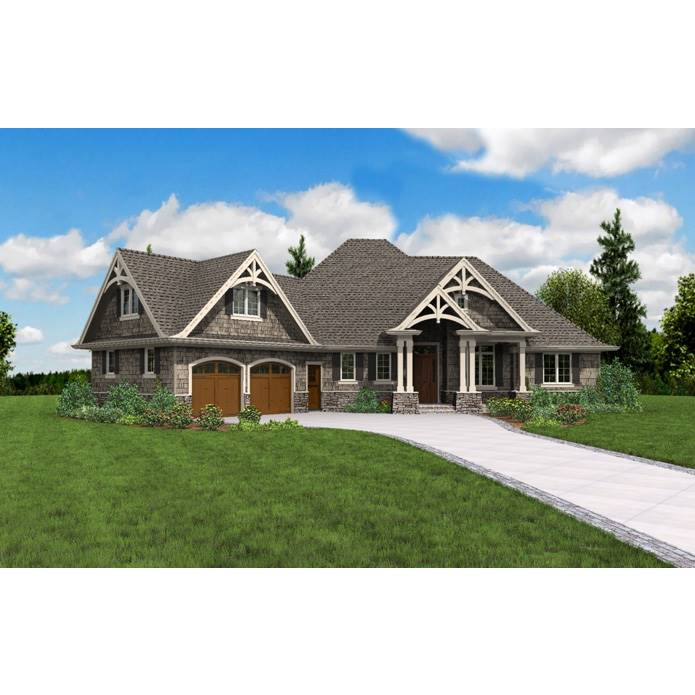 TheHouseDesigners-5180 Craftsman House Plan with Crawl Space Foundation (5 Printed Sets)