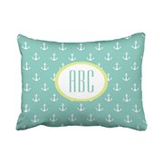 WinHome Rectangle Throw Pillow Covers Popular Lime And Seafoam Green Anchor Monogram Customizable Pillowcases Polyester 20 x 30 Inch With Hidden Zipper Home Sofa Cushion Decorative Pillowcase