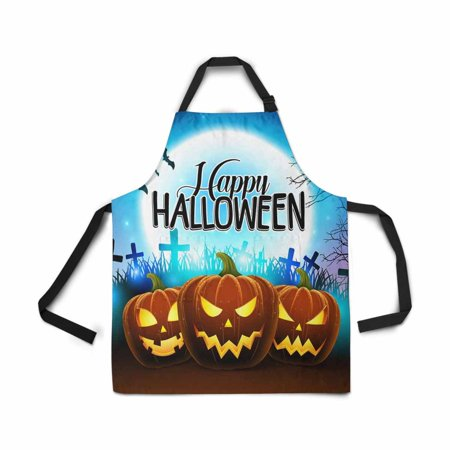 ASHLEIGH Adjustable Bib Apron for Women Men Girls Chef with Pockets Pumpkins Happy Halloween Creepy Face Moon Bat Novelty Kitchen Apron for Cooking Baking Gardening Pet Grooming Cleaning (Halloween Moon Faces)