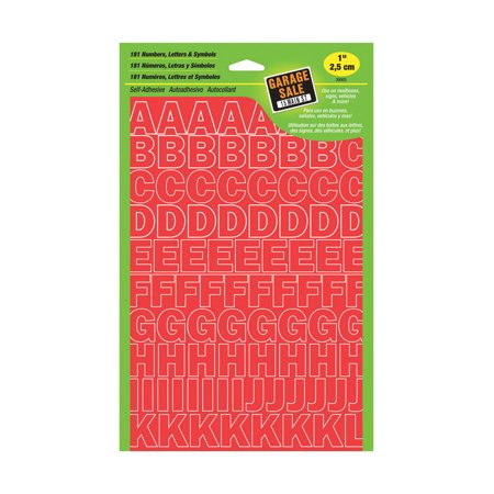 Hy-Ko Prod 30003 House Address Set, Self-Stick, Red, 1-In. Numbers & Letters - Quantity 1 (Fluorescent Red 1 Inch Number)