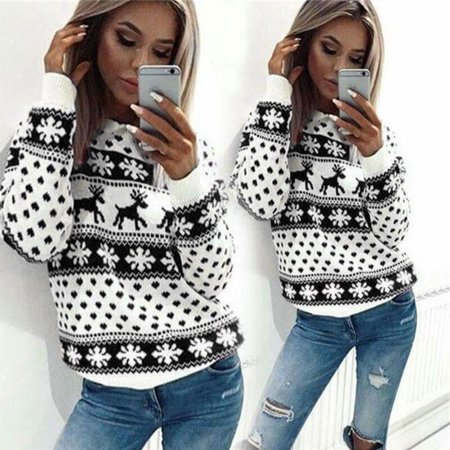Christmas Sweater Tops leisure Fleece Printed Pullover Unisex Retro Novelty Ladies Mens S-XL for $<!---->