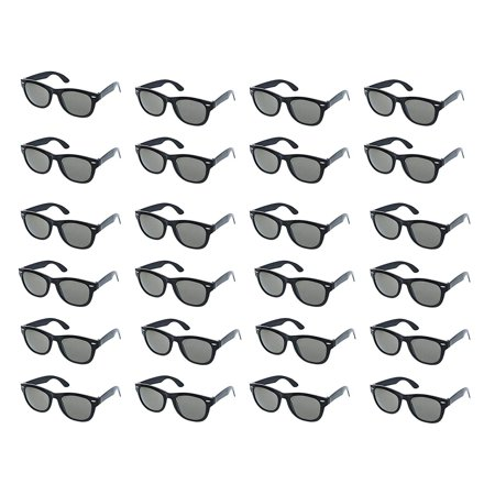 Party Sunglasses - 24-Pack Vintage 80s Retro Trendy Style Black Party Glasses, Kids Birthday Party Favors, Perfect for Bachelorette or Bachelor Party Supplies, (Bachelor Party Sunglasses)
