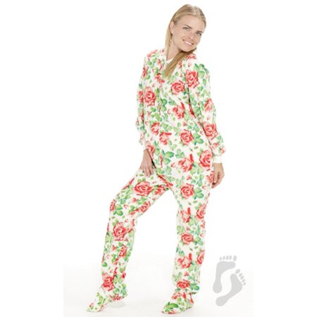 Footed Pajamas - Bed of Roses Adult Fleece Onesie