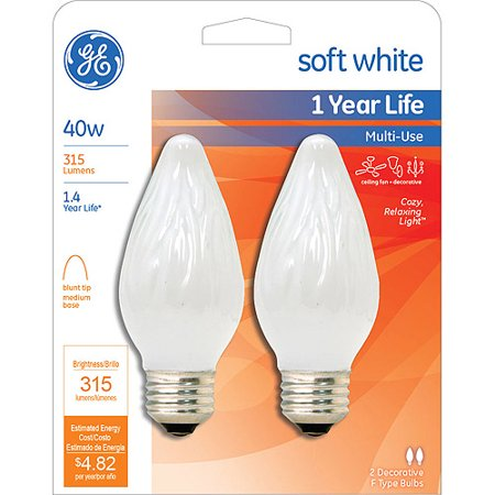 GE INCANDESCENT 40W SOFT WHITE MULTI USE FLAME TIP BULB 2-COUNT