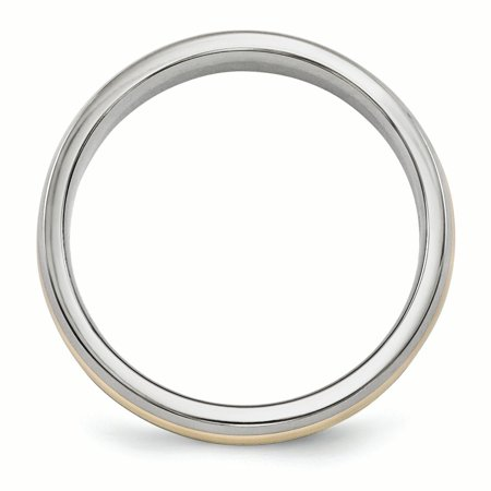 Nice Titanium 14k Yellow Inlay 5mm Wedding Ring Band Size 10.50 Precious Metal Fine Jewelry & Watches