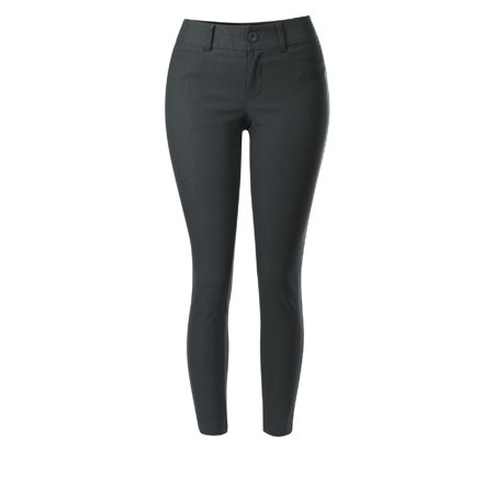 Made by Olivia Women's Classic Stretch Bengaline Slim Long Ankle Length Office Pant Charcoal M ()