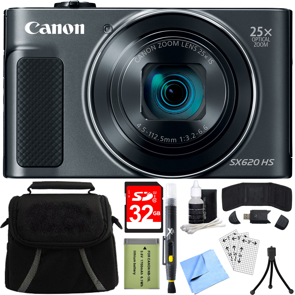 Canon PowerShot SX620 HS 20.2MP Digital Camera Black w/ 32GB Accessory Bundle includes Camera, 32GB SDHC Memory Card, Bag, Mini Tripod, Screen Protectors, Cleaning Kit, Beach Camera Cloth and More