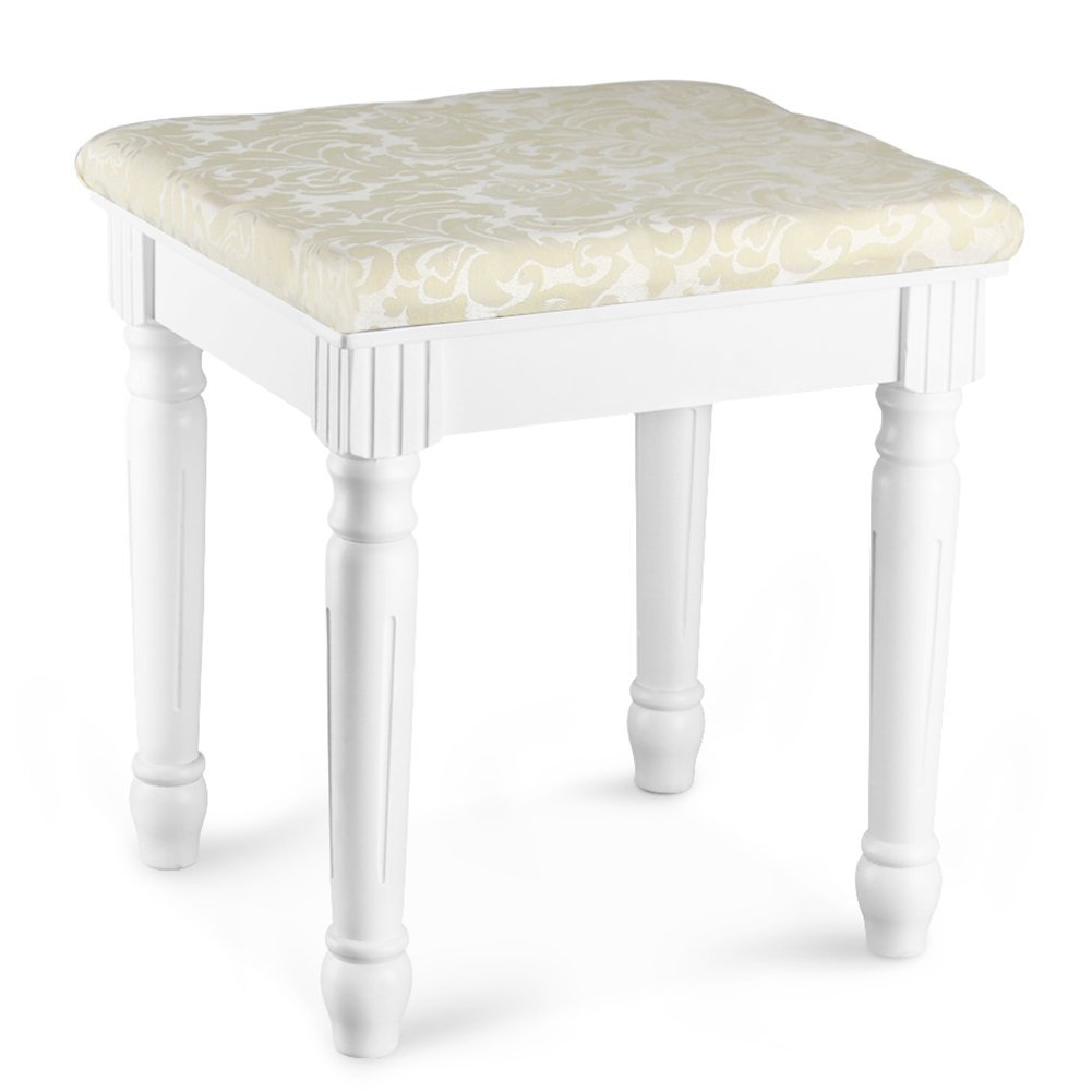 tribesigns vanity stool makeup dressing stool pad cushioned chair piano seat for bedroom wood