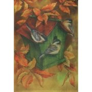 Fall Housing House Flag Birdhouse Leaves Birds Autumn Large Yard Banner 28 x 40