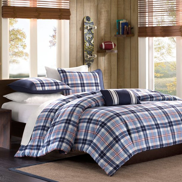 Full Queen Twin Comforter Bed Set Teen Bedding Modern Contemporary Blue Navy Plaid Bedspread Update Bedroom Decor Twin Twin Xl Set Includes One Comforter Two By Mi Zone Walmart Com Walmart Com