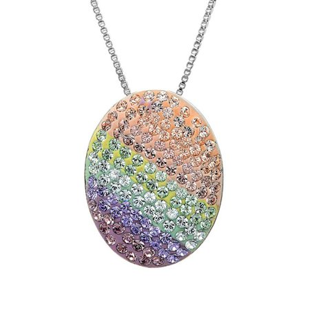 Sterling Silver Multi Colored Easter Pendant-Necklace with Swarovski Crystals - Easter Jewelry
