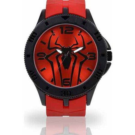 Men's Watch, Red Rubber Strap Crystal Red Strap Watch