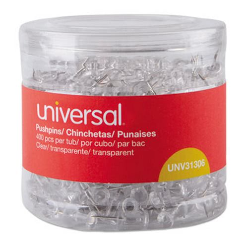"""Universal Clear Push Pins, Plastic, 3/8"""", 400/Pack (UNV31306)"""