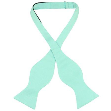 Vesuvio Napoli SELF TIE Bow Tie Solid AQUA GREEN Color Men's BowTie