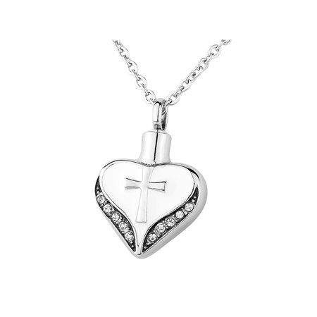 Cross On White Heart Cremation Jewelry Keepsake Pendant Memorial Urn Necklace - Cross Necklace For Girl