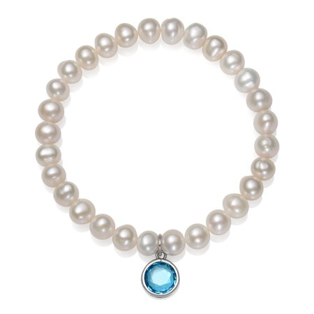 8' Cultured Pearl Bracelet - Cultured Freshwater Pearl and December Birthstone CZ Charm Stretch Bracelet, 7.5