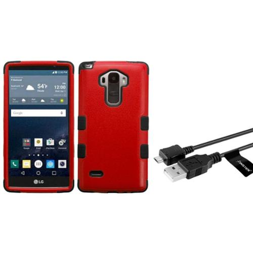 Insten Tuff Hard Dual Layer Rubber Coated Silicone Case For LG G Stylo - Red/Black (+ USB Data Sync Charge Cable)