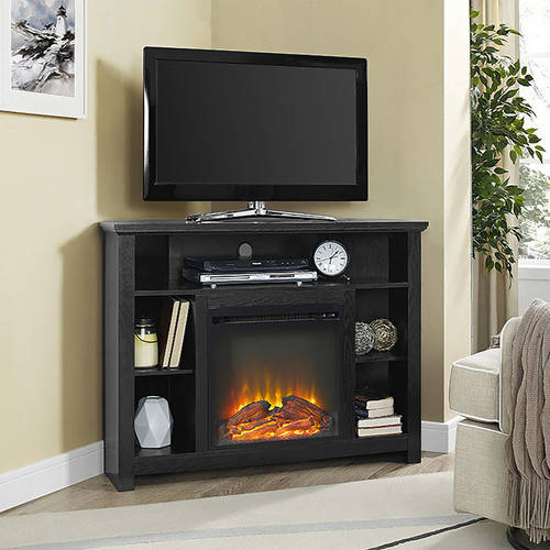 "44"" Wood Corner Tall Fireplace TV Stand for TVs up to 60"" - Espresso (Multiple Colors Available)"