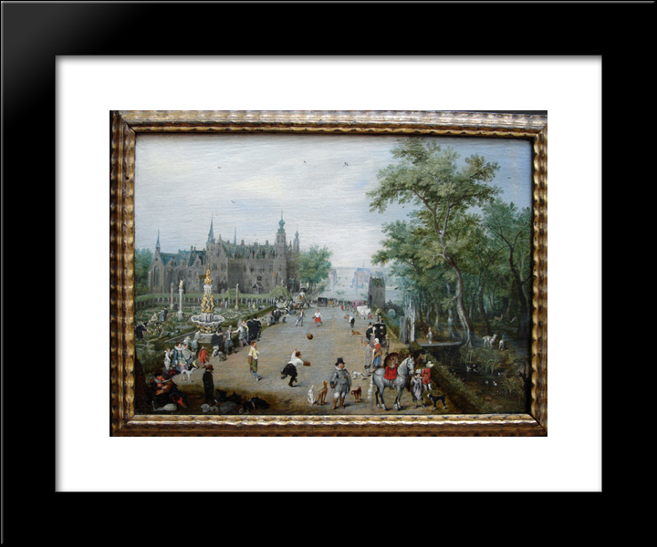 A Game of Handball with Country Palace in Background 20x24 Framed Artwork Print by Adriaen van de Venne by FrameToWall