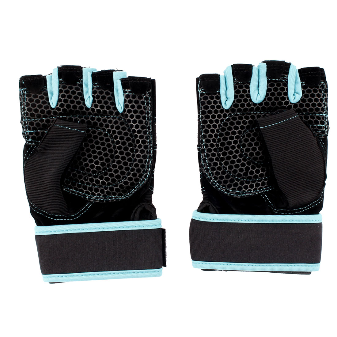 Unique Bargains Cycling Driving Sports Fingerless Mesh Hole Braided Fitness Gloves Black M Pair