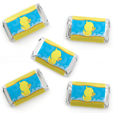 Ducky Duck - Mini Candy Bar Wrapper Stickers - Baby Shower or Birthday Party Small Favors - 40 Count