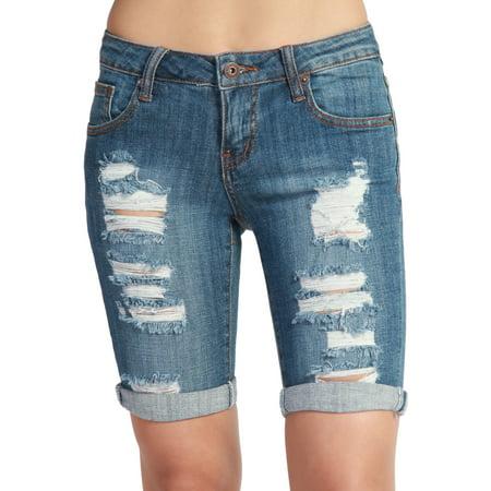 (TheMogan Women's Vintage Distressed Ripped Jean Bermuda Denim Shorts Medium L)