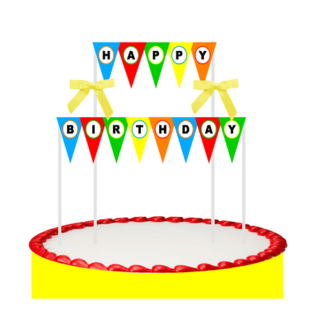 Cake Table Banner (Happy Birthday Cake Decoration Bunting Banner Topper with Bow)