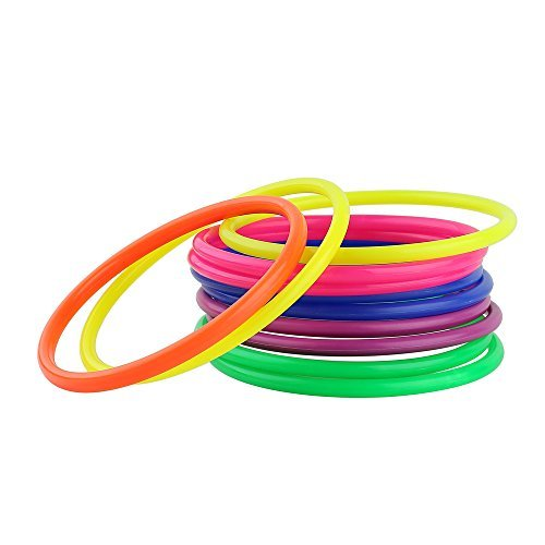 Toss Rings Plastic Multicolor Throwing Circle Toy for Carnival Garden Backyard 12pcs