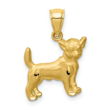 14K Yellow Gold Chihuahua Pendant (Chihuahua Things)
