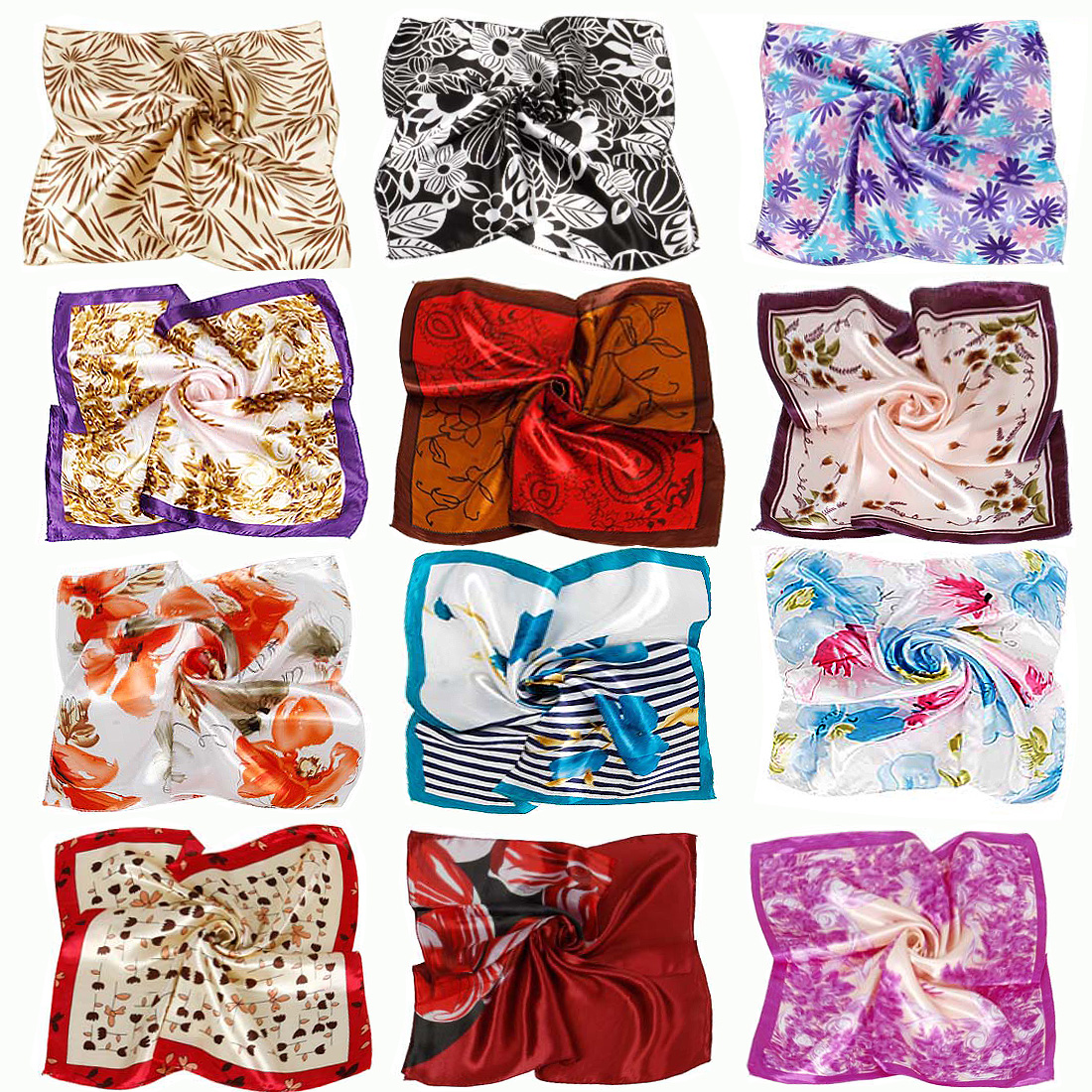BMC Fashionable 12pc Mixed Patterns and Colors Womens Scarf Accessory Set