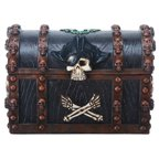 "6.25 Inch Pirate ""Skull and Bones"" Chest Decoration Trinket Box"
