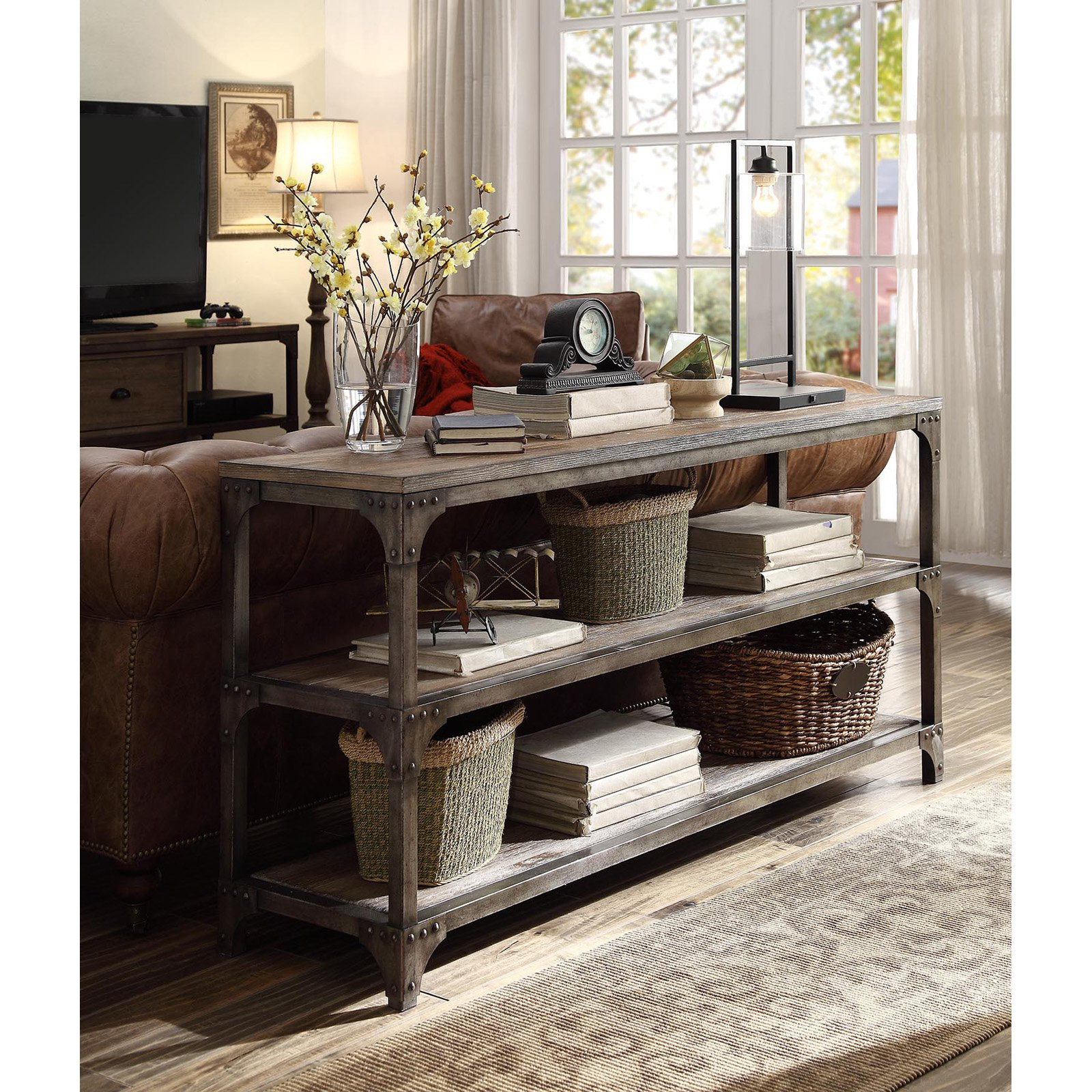 "Acme Gorden TV Stand for TVs up to 55"", Weathered Oak and Antique Silver"