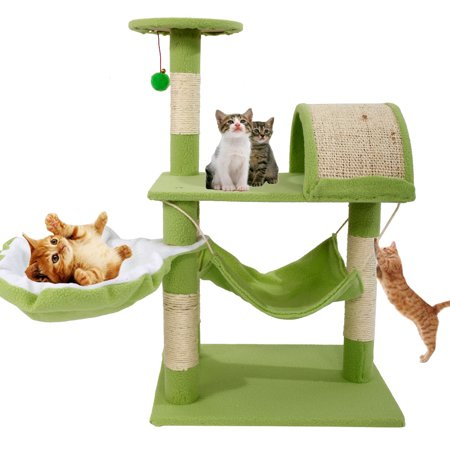 "Zimtown 32""H Cat Climbing Tree Tower Condo Scratcher Furniture Kitten House Hammock with Scratching Post and Toys for Cats Kittens Playhouse Green"