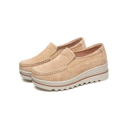 Audeban Women Slip On Platform Suede Penny Loafers High Heel Wedge Moccasins Walking Sneakers