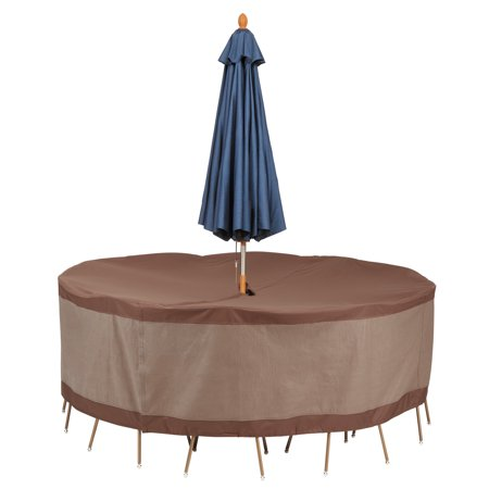 Duck Covers Ultimate Round Patio Table Set Cover with Umbrella Hole - Water Resistant Patio Furniture Cover, 96