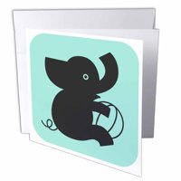 3dRose Silhouette of Baby Elephant and Toy, Greeting Cards, 6 x 6 inches, set of 12