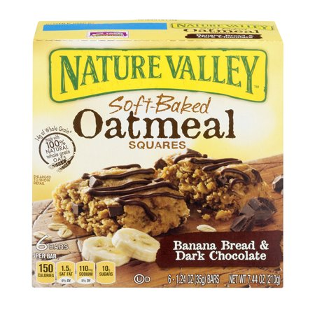 Nature Valley Soft Baked Oatmeal Squares Banana Bread And Dark Chocolate 6   1 24 Oz Bars