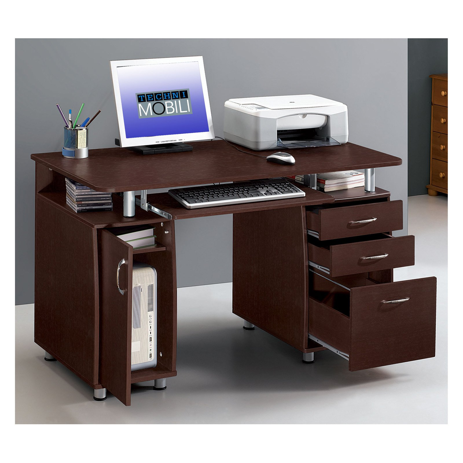 Lovely Techni Mobili Complete Computer Workstation With Cabinet And Drawers    Chocolate