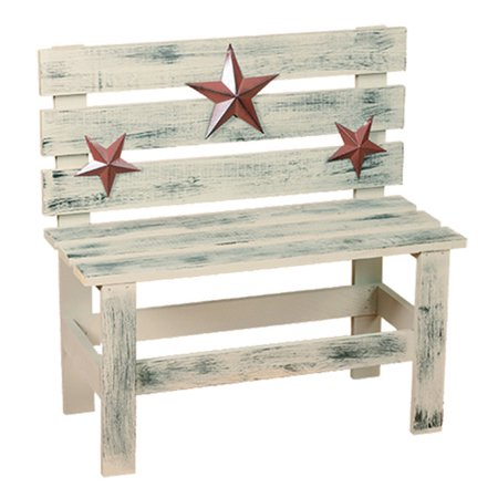 Excellent Primitive Decorative Hudson Bench With Rustic Stars Bralicious Painted Fabric Chair Ideas Braliciousco