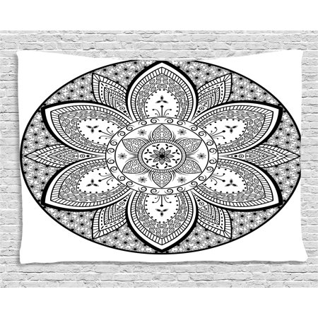 Ethnic Tapestry, Mandala Indian Tribal Design Leaves Flowers Ivy Swirls Dots Artwork Image Print, Wall Hanging for Bedroom Living Room Dorm Decor, 60W X 40L Inches, Black and White, by - Tribal Flowers