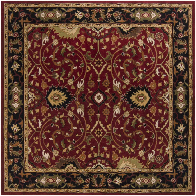 8' x 8' Cicero Venetian Red and Caramel Tan Hand Tufted Wool Area Throw Rug